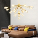 Gold Branch Chandelier Light with Clear Glass Bulb Shade 10 Lights Mid Century Modern Led Pendant Lamp