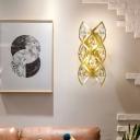 Crystal Wall Mount Lighting Vintage 2 Lights Metal Gold Wall Sconce Lamp for Living Room
