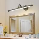 Rotatable Linear Vanity Mirror Light Metal Vintage Wall Mount Lighting in Antique Brass/Black, 14