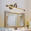 Mid Century Modern Swing Arm Vanity Lighting Metal Aged Brass Led Wall Sconce Light in Neutral Light, 18