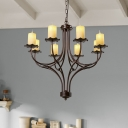 Bronze Multi Light Pendant with Candle Traditional Style Metal Suspended Light for Living Room