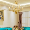 Gold Ceiling Pendant with Candle and Crystal Beaded Strands 9 Lights Traditional Metal Chandelier for Living Room