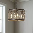 Loft Style Black Drum Suspended Lamp 4 Bulbs Metal Pendant Lamp with Chain and Crystal Beads