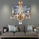 French Country Chandelier Lighting with Candle 3 Lights Crystal Hanging Ceiling Light in Gold for Bedroom