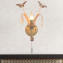 Conical Wall Lamp Modernist 1 Light Butterfly Metal Sconce Lighting with/without Shade in White