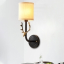 Traditional Cylinder Sconce Lighting with Fabric Shade 1/2 Lights Wall Light Fixture in Black/Gold