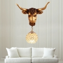 Crystal Beaded Orb Wall Mounted Lamp 1 Light Loft Sconce Light with Gold Resin Cattle