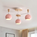 Macaron Orb Semi Flush Light with Blue/Green/Pink/Yellow Metal Shade 3/6/8 Lights Ceiling Light for Living Room