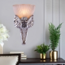 Elephant Design Wall Lighting Fixture with Opal Bowl Glass Shade French Country 1 Bulb Wall Lamp in Silver