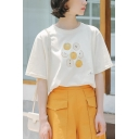 Womens Casual Apricot Fruit Printed Round Neck Short Sleeve Loose Relaxed T-Shirt