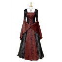 Womens Fashion Medieval Vintage Square Neck Bell Sleeve Lace-Up Front Color Block Patchwork Maxi Swing Dress
