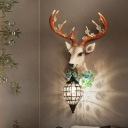 Resin Deer Wall Sconce Lighting with Flower Loft Teardrop Clear Crystal Wall Lamp