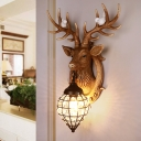 Resin Deer Wall Lamp 1 Head Contemporary Metal Lantern Wall Sconce Lighting with Crystal in White/Brown