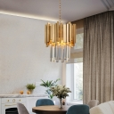 Chrome/Gold 2 Tiers Pendant Light 3 Lights Modernism Clear Crystal Hanging Ceiling Light for Dining Room