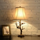 Tree Table Lighting with White Empire Shade 1 Head Rustic Decorative Table Lamp for Bedroom