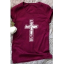White Cross Christian Short Sleeve Crew Neck Jersey T-Shirt
