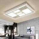Crystal Beaded Square/Rectangle Flush Ceiling Light Modern Style Metal Living Room Lighting in White