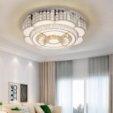 Crystal Beaded Flower Flushmount Contemporary Integrated Led Ceiling Light Fixture in Chrome, 23.5