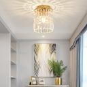 Black/Gold Mini Foyer Flush Lighting with Clear Crystal Shade Single Light Vintage Flushmount