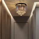 Smoked Crystal Flush Mount Ceiling Light 2/4/7/8 Bulbs Modern Foyer Flush Lighting in Black