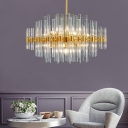 Gold Finish Chandelier with Crystal Glass Rods Mid Century Modern 10 Lights Bedroom Hanging Light