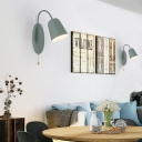 Modern Cone Sconce Light Fixture 1 Light Wall Mounted Lighting with Metal Shade and Pull Chain in Pink/Yellow/Blue/Green