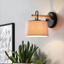 1 Bulb Drum Shade Wall Lighting Fixture Modernist Fabric Bedroom Wall Lamp in Grey