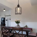 Bronze Cage Suspension Light Industrial Metal 1 Light Foyer Hanging Light Fixture with On/Off Dimmer Switch