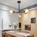 Wooden Ring Hanging Pendant Light Rotatable 3/6/8 Bulbs Chandelier Light in Black/White for Dining Room
