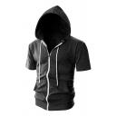Mens Sportive Short Sleeve Drawstring Hood Plain Zipper Hoodie