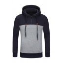 Popular Contrast Color Patch Long Sleeve Half Zipper Design Pullover Hoodie