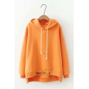 Letter YEAH I'M OK Smile Face Pattern High Low Hem Plain Oversized Drawstring Hoodie