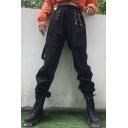 Hip Hop High Waist Irregular Chain Embellished Detachable Pocket Plain Cargo Pants