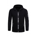 Winter Mens Letter Tape Zip Up Long Sleeve Knitted Cardigan Hooded Coat with Pocket