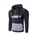 Contrast Patch Pocket Half Zip Long Sleeve Pullover Hoodie