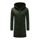 Simple Plain Long Sleeve Single Breasted Longline Hoodie Coat with Pocket