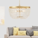 Vintage Beaded Chandelier Light Clear Crystal Hanging Ceiling Light in Aged Brass
