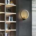 Led Circle Wall Mounted Lighting with Ripple Design Minimalist Wall Sconce for Bedroom
