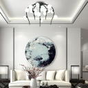 Multi Light Orb Chandelier Lighting with White Glass Shade Post Modern Foyer Pendant Light