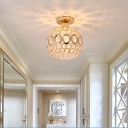 Round Semi Flush Mount Light Modern Crystal 1 Light Semi Flush Light for Corridor Hallway