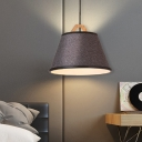 Tapered Shade Drop Light Modern Simple Flaxen/Gray Fabric Shade 1 Light Hanging Pendant Light