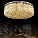 Clear Crystal Drum Flush Mount Light Dining Room Contemporary LED Ceiling Lamp in Chrome