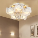Contemporary Flower Ceiling Mount Light 3/5 Lights Metal Ceiling Lamp in Pink/White for Bedroom