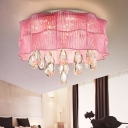 Modern Blue/Pink Flush Ceiling Lamp Flower Metal LED Ceiling Lamp with Teardrop Crystal for Hotel
