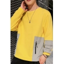 Mens New Stylish Colorblock Zip Pocket Long Sleeve Round Neck Loose Fit Casual Pullover Sweatshirt