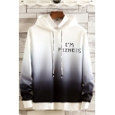 Mens New Stylish Ombre Color Letter I'M MIZHEIS Printed Long Sleeve Loose Fit Casual Pullover Hoodie