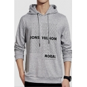 Mens Hot Fashion Simple Letter Pattern Long Sleeve Casual Sports Drawstring Hoodie