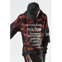 Mens Street Trendy Letter Printed Fake Two-Piece Long Sleeve Casual Loose Fit Hoodie