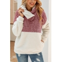 Unique Stylish Sloping Half-Zip Front Long Sleeve Color Block Warm Fluffy Hoodie