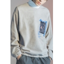 Mens Trendy Graphic Printed Long Sleeve Round Neck Casual Grey Sweatshirt